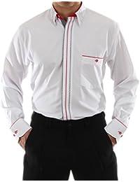 b8ca1f2fcbea Designerhemd in Weiß, für Herren BESTE QUALITÄT, HK Mandel Freizeithemd  Langarm Normal Nicht Tailliert