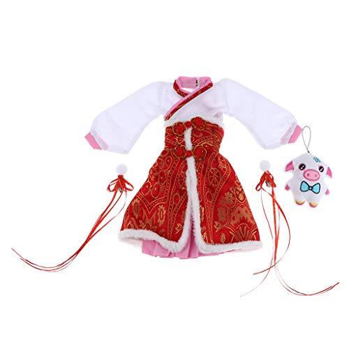 Fenteer Puppenkleid Kleidung Puppenkleider Puppenbekleidung Fashion Dress Chinesischen Stil für 1/3 BJD 60cm Baby Puppen