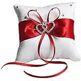 E-Goal 10x10cm cristal strass mini rouge bande satin double coeur coussin de mariage