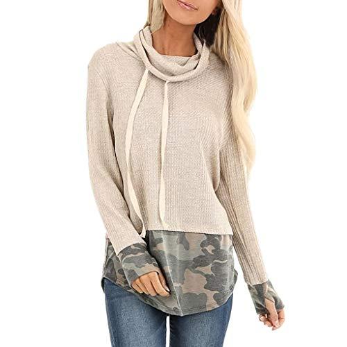 Xuthuly Damen Kontrastfarbe Pulli Pullover Rollkragen Sweatshirt Kapuzenpulli Top Damen Camo Bedruckte Elegante Tunika Bluse