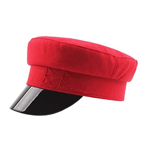 LCLrute Leder Nähte Wolle Marine Hut Herbst und Winter lässig Wilde warme Weibliche Kappe Leder Flach Gap Cabbie Hut (Rot)