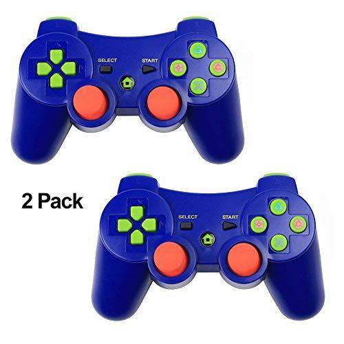 Klicop PS3 Controller XFUNY 2 Pack Wireless Bluetooth 6-Achsen Controller Dualshock 3 Gamepad für Playstation 3 mit Ladekabel