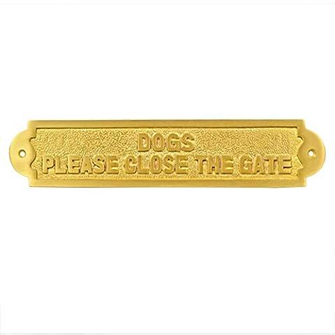 Adonai Hardware Dogs Please Close The Gate Brass Door Sign - Satin Brass (Satin Gold Sb)
