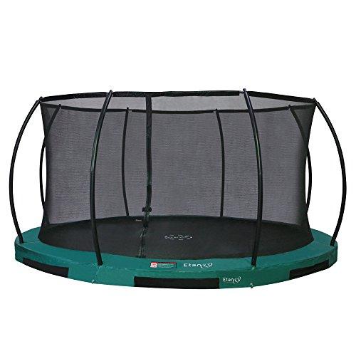 Etan Hi-Flyer Outdoor Boden Trampolin Komplett - Inground Kinder Trampolin Set inklusiv starkem Sicherheitsnetz, UV-beständiges Randabdeckung und Sprungmatte - Gartentrampolin - Grün - Ø 427 cm