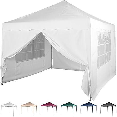 Faltpavillon 3x3 m mit 4 Seitenteilen, WASSERDICHT, Farben wählbar, inkl. Tragetasche + Zubehör, versiegelte Nähte, DIN ISO zertifiziert, Weiß Champagner Blau Grün Burgund Rot Anthrazit