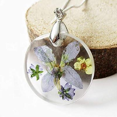 Pendentif Léonie en résine et fleurs - Bijou nature fleur bleue Collier en fleurs séchées argent 925 collier végétal