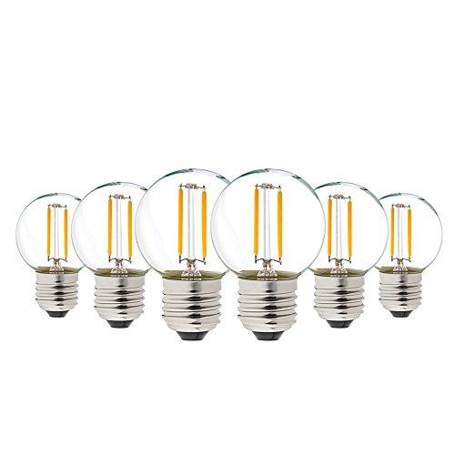 Genixgreen G40 Vintage 1W LED Filament Birnen warmes Weiß 2700K ES LED Antike Edison E27,100 Lumen Ersetzt 10 Watt Glühlampen Equivalent,nicht dimmbar,6er Pack [Energieklasse A++] -