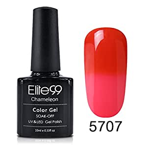 Elite99 Temperature Colour Changing Gel Nail Polish 10ML Soak Off UV LED Gel Nail Varnish Gloss Manicure Lacquer Nail Art Salon Decor Grenadine, Strawberry Pink (5707)
