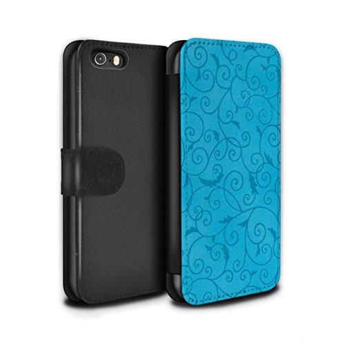 Stuff4 Coque/Etui/Housse Cuir PU Case/Cover pour Apple iPhone SE / Pack (8 pcs) Design / Motif de la vigne Collection Turquoise