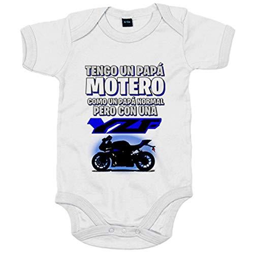 Body bebé tengo un papá motero moto YZF - Blanco, 6-12 meses