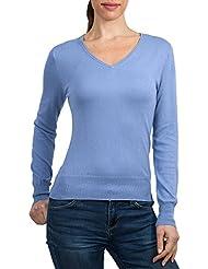 WoolOvers Langarm Pullover mit V-Kragen für Damen (Cotton / Silk) - C48