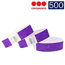 Cintapunto - 500 Pezzi - Braccialetti Tyvek 500, Braccialetti Carta, Braccialetti Monouso, Tyvek Braccialetti, Braccialetti di Carta, Braccialetti in Carta (Purple)