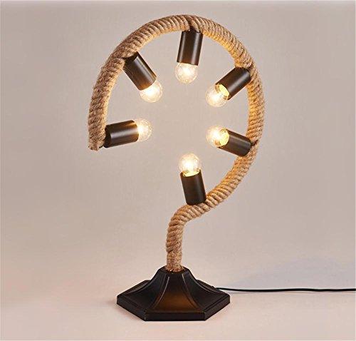 Schreibtischlampen®Retro E27 Schreibtisch-Licht-Lampe Nachttisch-Lampe Weinlese-industrielle kreative Hanf-Seil-Tabellen-Licht-Lampe 6 Lichter mit Knopf-Schalter für Schlafzimmer-Bar-Café