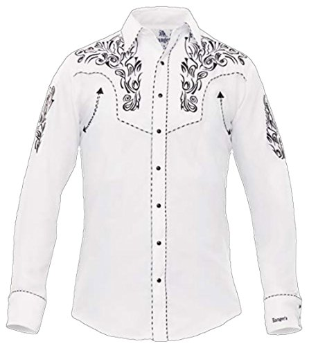 Modestone Men's Embroidered Long Sleeved Fitted Western Hemd Filigree White L (Shirt Western Cattleman Ely)