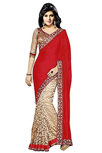 Janasya Women's Brasso & Net Saree(JNE0240.Re_Multi-Coloured)  available at amazon for Rs.599