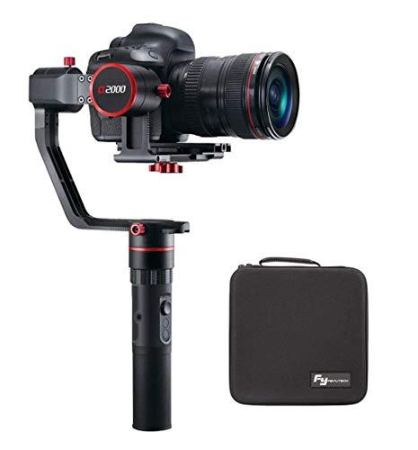 Feiyu a2000 3 Eje Gimbal Estabilizador para DSLR & Mirrorless Cámaras como Canon 5D 6D Serie,Sony A9 A7 a6500 a6000,Panasonic GH4 & GH5,250-2500g Carga útil,Rotación ilimitada de 360 Grados (a2000)