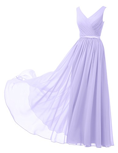 Alicepub A-Linie Chiffon Brautjungfernkleider Abendkleider Lang Ärmellos Ballkleider, Flieder, 38