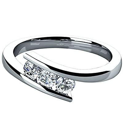 Round Diamond Tension Setting Trilogy Engagement Ring, in White Gold