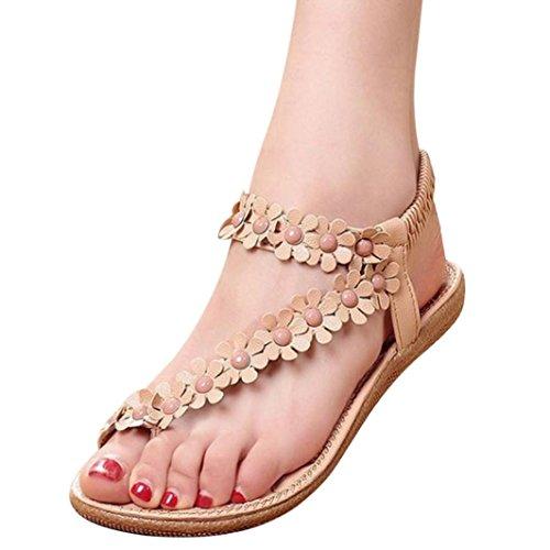 MOIKA Damen Sandalen, Sommer Elegant hmen Blumen-Perlen Flip-Flop Schuhe Flache Sandalen Schuhe Mode Strandschuhe Zehentrenner Pantoletten Riemchensandalen(EU37,Khaki