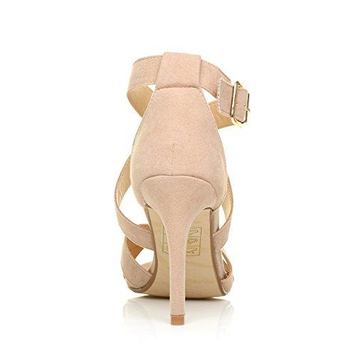 Escarpin sandale talon haut bride pour femmes Daim chair