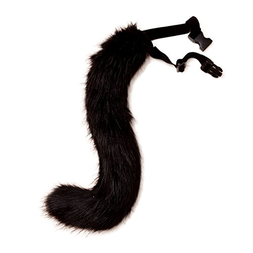 Katze Kostüm Schwarz Tail - VLUNT Halloween Kostüme Kunstpelz Fuchsschwanz kann Schwanz eingestellt Werden