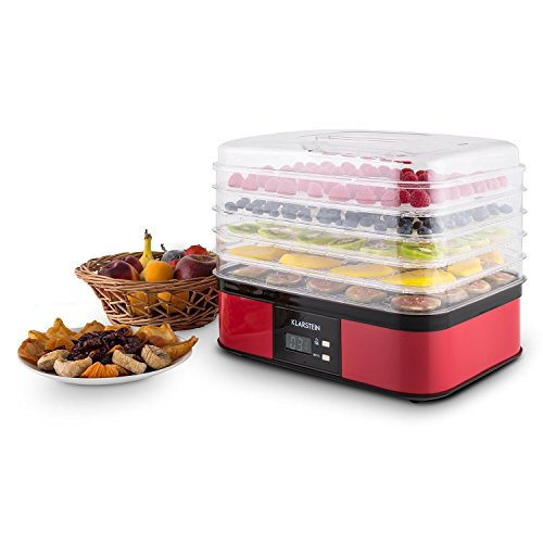 41mlYvq1s6L. SS500  - Klarstein Valle di Frutta - Dehydrator, Automatic Dehydrator, Fruit Dryer, 5 Levels, 250 W, Adjustable Temperature, Timer, LCD Display, 2-Key Operating Section, Easy Cleaning, red