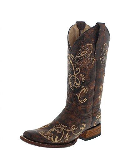 Corral Boots Circle G L5079 Distressed Brown Bone Lederstiefel Damen Brown Westernstiefel, Groesse:37.5 (7 US) (Stiefel Distressed Cowboy Braun)
