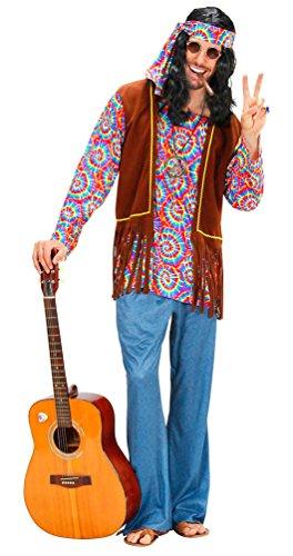 (Karneval Klamotten Hippie Kostüm Herren Flower-Power Peace Kostüm Herren 60er 70er Jahre Karneval Herren-Kostüm inkl. Hemd Weste Schlaghose Stirnband Peacekette Größe 48)