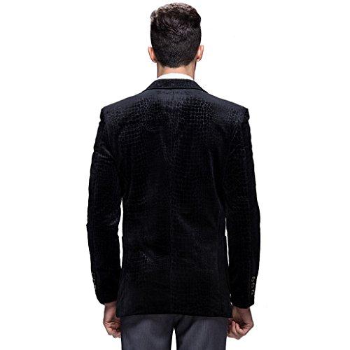 E-artist Uomo Slim Fit Casual Velluto Blazer Giacca X62 Nero