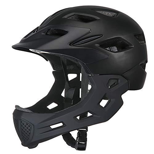 Wxhelmet Casco Rimovibile Casco da Bicicletta per Bambini Protezione di Sicurezza Casco da Ciclismo Chin Rimovibile più Colori Disponibili,Black
