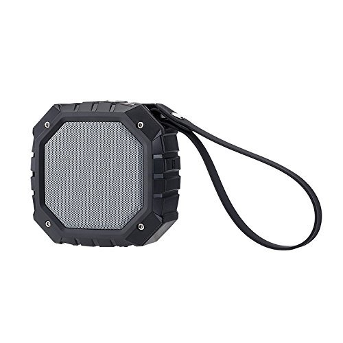 POHO Outdoor Waterproof Portable Bluetooth Speaker with FM Radio, Powerful 5W Driver with Enhanced Bass, 8 hour Playtime, for Car, Shower, Sports, Travel, Camping (Schwarz)