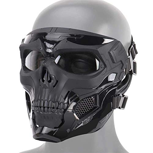 AUTOECHO Halloween-Skelett-Maske, Skelett-Maske, Halbgesicht, Schutzmasken für Airsoft Paintball Outdoor Cs War Game BB Gun Halloween Skelett Masken (Für Gun Filme Requisiten)