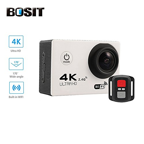 Bosit azione Camara, cinturino 2.4G Wireless RF telecomando, 4K HD Sports Action Camera, 12MP WiFi impermeabile camera 170gradi di angolo di vista largo 5,1cm schermo LCD/19Accessori kits- giallo, Rose red