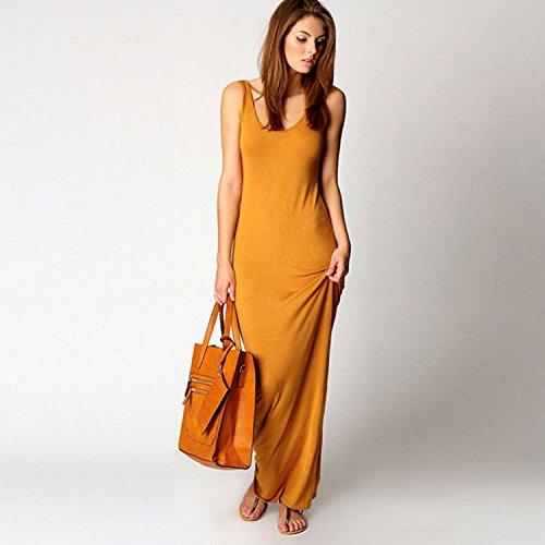 CEGFXCSW Kleid Summer Basic Vest Long Dress Women Back Split Dress Elegant Sleeveless Vest Tanks Slim Strap Party Dresses,Beige,XXL Back Tank Dress
