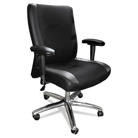 Mercado Series Mid-Back Leather/Mesh-Fabric Chair, Black