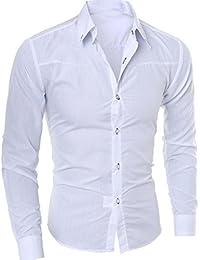 ae1a193f437a Bluestercool Hommes Chemises Mode Casual Longue Manches Slim Sociale Mâle  Vêtements Chemise Homme