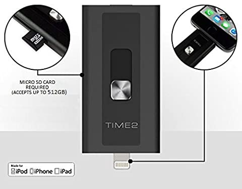 [Apple MFI Certified] iOS Flash Drive USB 3.0 - iPhone Storage Up to 512GB - iExpand Portable Storage Memory Stick - Micro SD Card interchangeable, Lightning flash drive - Apple iOS iPhone iPad/Mac/PC