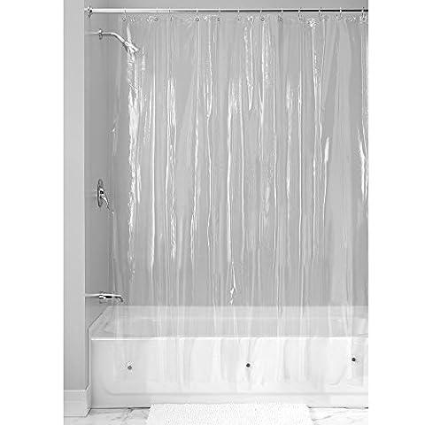 InterDesign Vinyl Shower Curtain Liner, 183 x 183 cm - Clear
