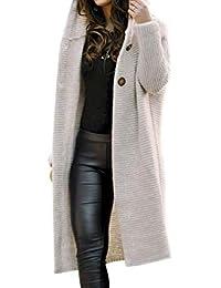 Vertvie Femme Cardigan Long en Tricot Veste Ouvert Épais Manches Longues Pull Gilet Chaud Casual Capuche Manteau Sweater Hiver Chandail Outwear