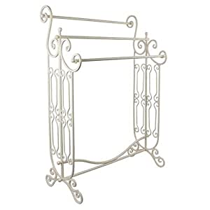 Large Floor Standing Antique Cream Towel Holder Store wtih 3 Bars and Shelf 92cm by Dibor - French Style Accessories for the Home