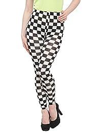 N-Gal Monochrome Checkered High Waist Skinny Legging-NJ2320-Black-White