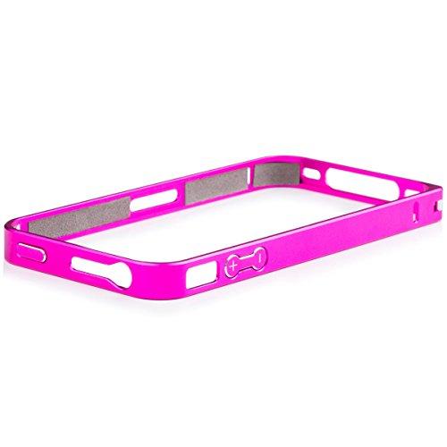 iCues Apple iPhone 4/4S | Alu Bumper Clip Pink | [Display Schutzfolie Inklusive] CNC Aluminium Metall Metallic Rahmen Case Hülle Schutzhülle - Aluminium Iphone Case Bumper 4s