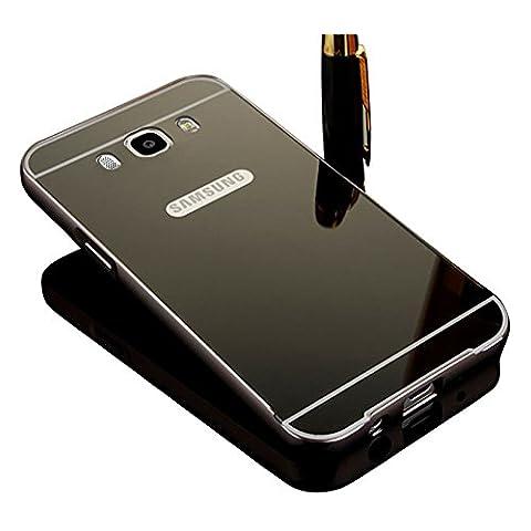 Coque Samsung Galaxy J7 2016 Aluminium Métal Miroir Coloris noir Bumper Etui Housse