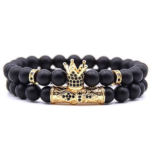 Crown Armband Set Handgemachte Schwarze Naturstein Perlen Männer Braclet Für Männliche Handgelenk Band Schmuck Zubehör Homme ()