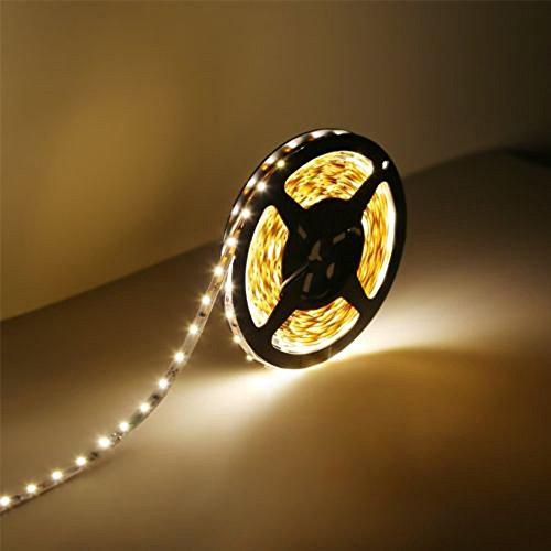 LED Streifen Licht,5M 300LEDs Wasserdicht/Nicht Wasserdicht Lichtstreifen Saiten Leuchten 3528 Dimmbar Lichtband Flexibel Seil Licht (Warmweiß, Nicht Wasserdicht)