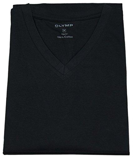 OLYMP Herren T-Shirt Doppelpack V-Ausschnitt- Schwarz, 3XL