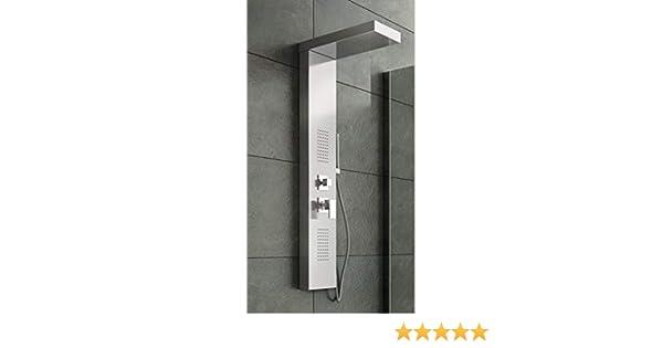 Pannello colonna doccia idromassaggio acciaio inox lucido soffione