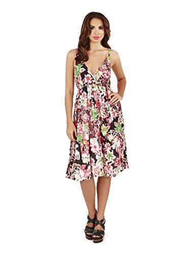 Femmes Pistachio Floral Ou Imprimé Aztèque Midi Femmes Coton Robe Bretelle Rose/noir - Floral