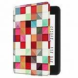 JulaJuyo New Kindle Paperwhite Hülle, Bunte Leicht PU Leder Schutzhülle für Amazon New Kindle Paperwhite (Auto Aufwach/Schlafmodus), 10th Generation-2018 (Magischer Würfel)