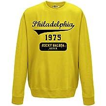 Sudadera cuello redondo Rocky Balboa Boxer Philadelphia Film Cult 3kiarenzafd Hombre, Sun Yellow